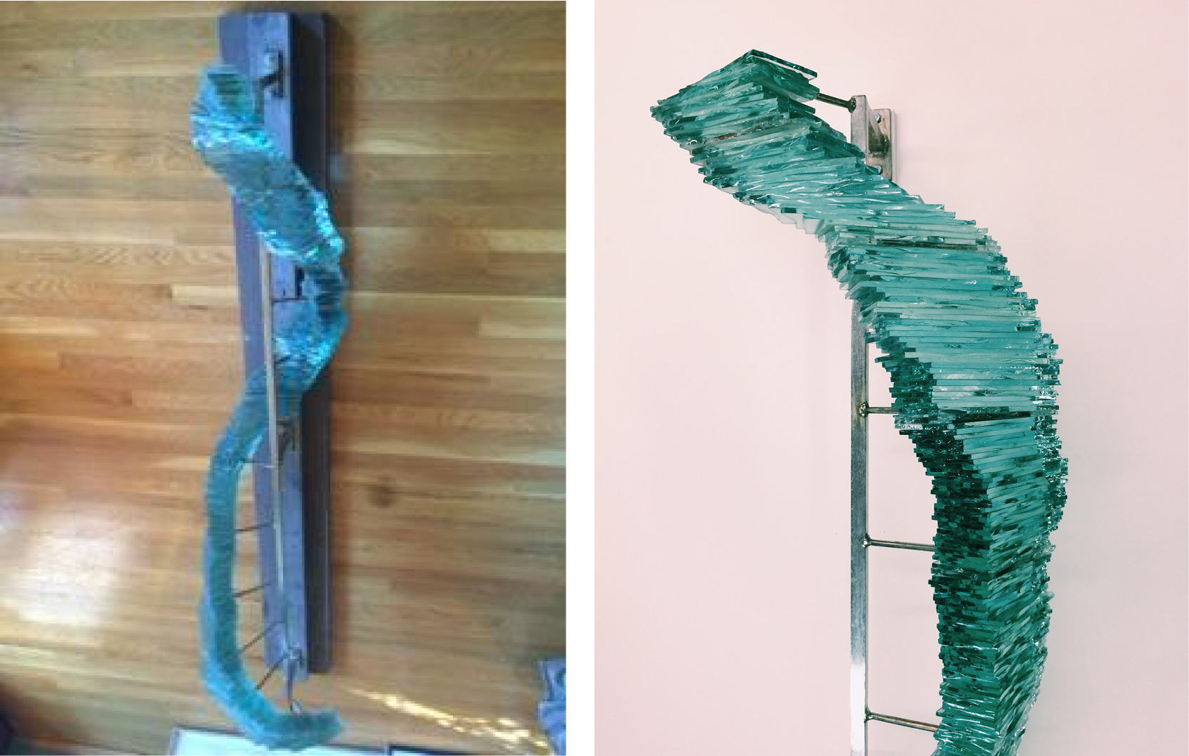 Before and after sculpture revitalization by Allison and Ross